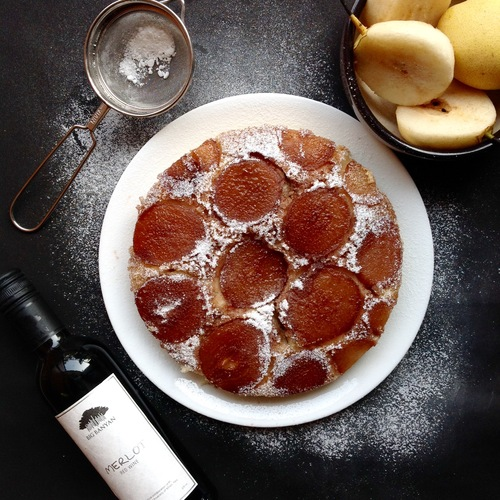MERLOT POACHED PEAR UPSIDE DOWN CAKE