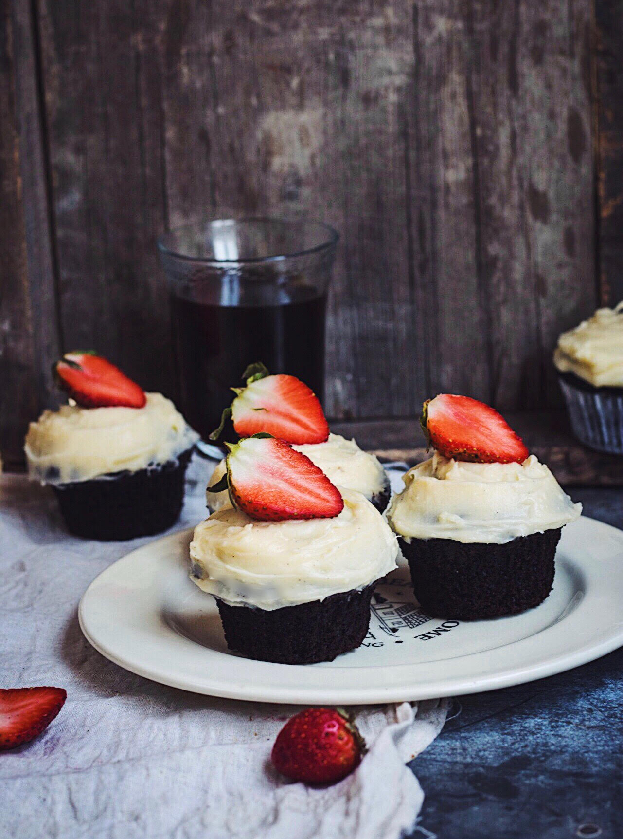 chocolate cupcakes moody styling
