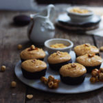 EGGLESS MINI CHOCOLATE CAKES WITH CARAMEL FROSTING AND HAZELNUT PRALINE