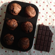 Chocolate Chunk Muffins with Dark Chocolate