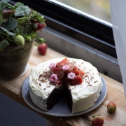 Eggless Strawberry Chocolate Cake