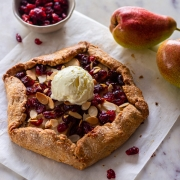 Pear and Cranberry Galette with Vanilla Iceream