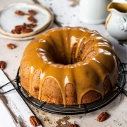 Pecan Bundt Cake with white chocolate glaze