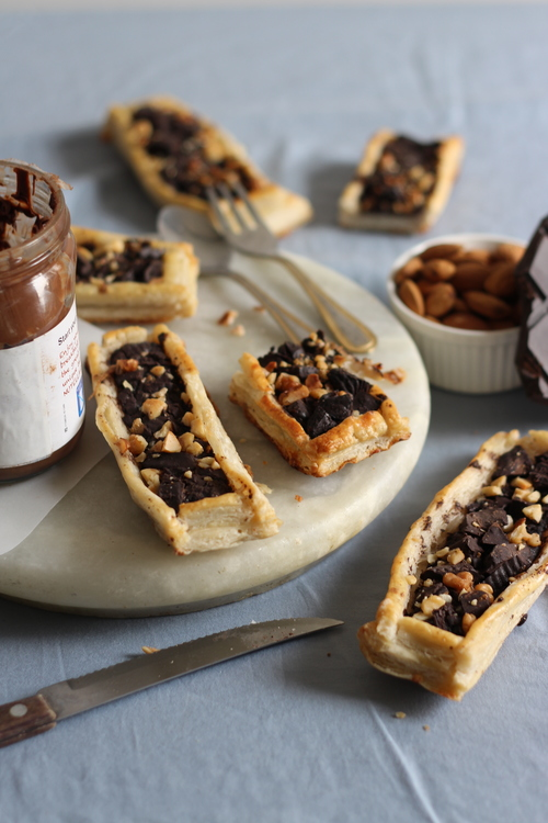Eggless Nutella- Chocolate Puff Pastry Tarts