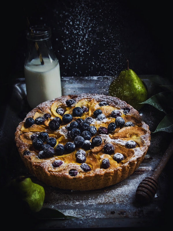 eggless pear and blueberry cake