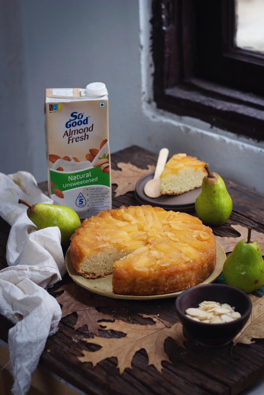 pear almond upside down cake