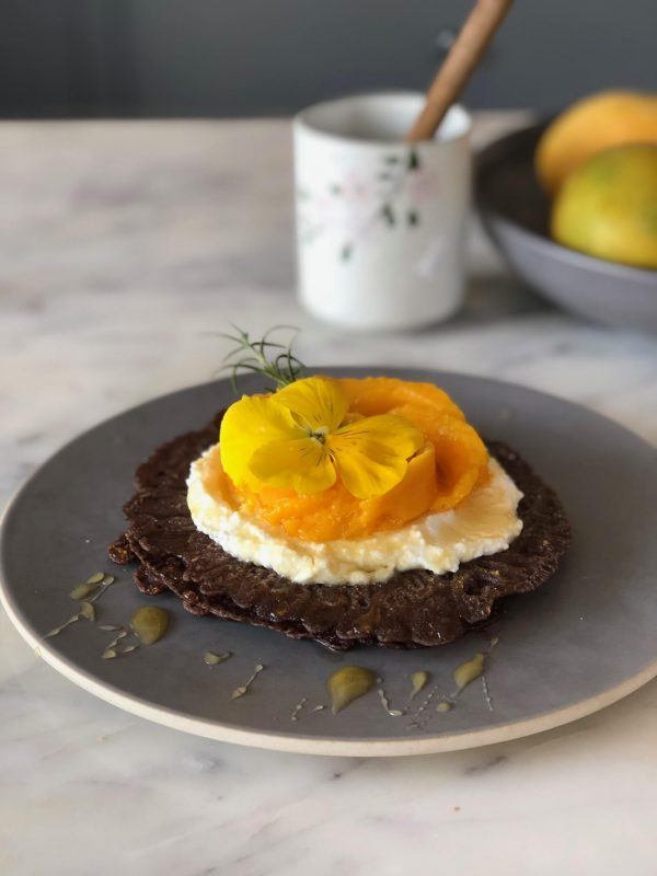 Ragi crepes with ricotta cheese