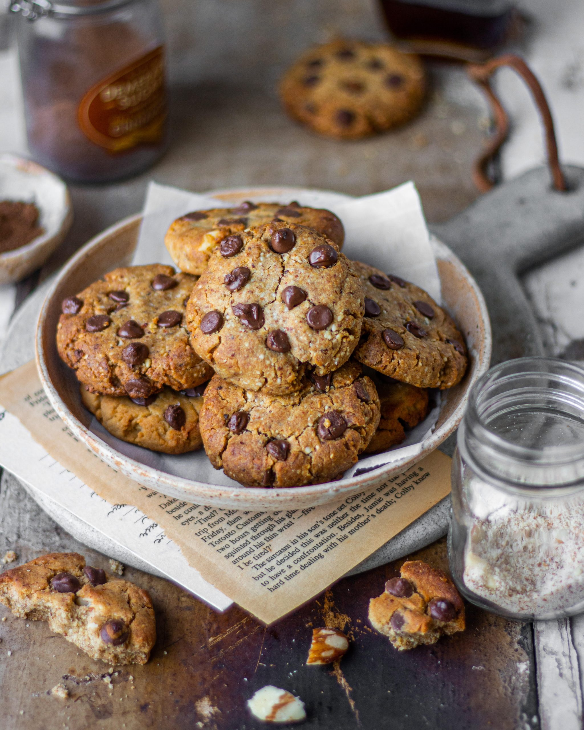 Eggless Almond Chocolate Chip Cookies