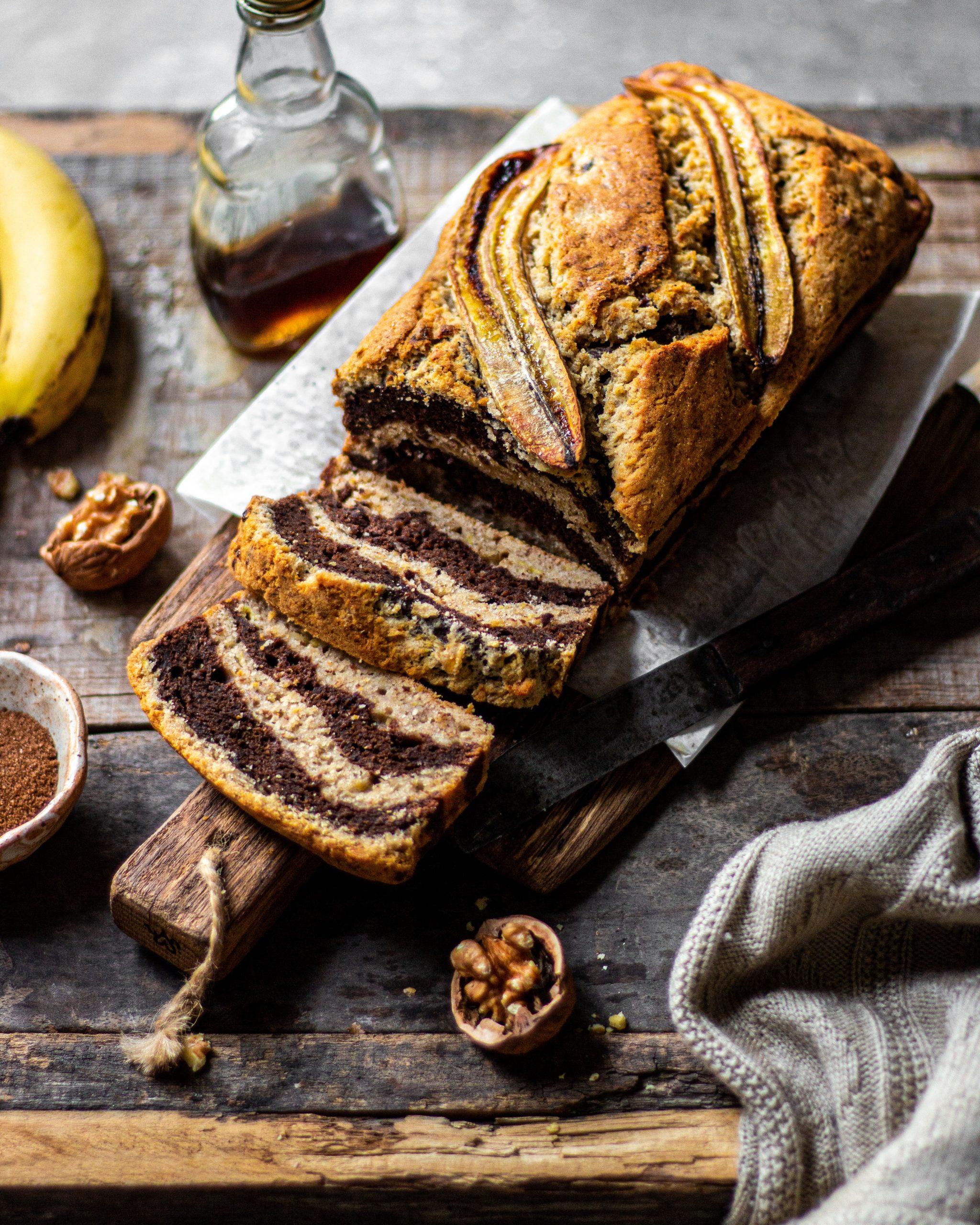 eggless marble banana bread recipe