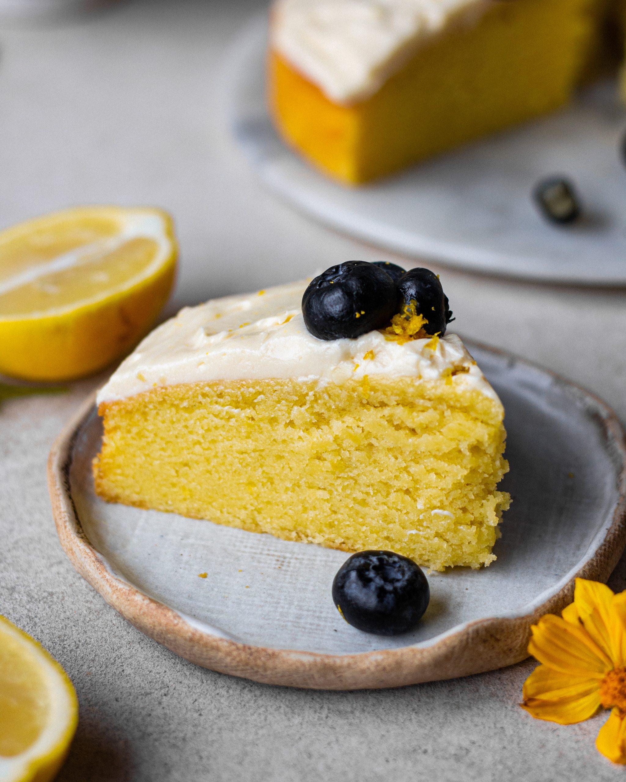 eggless lemon sponge cake