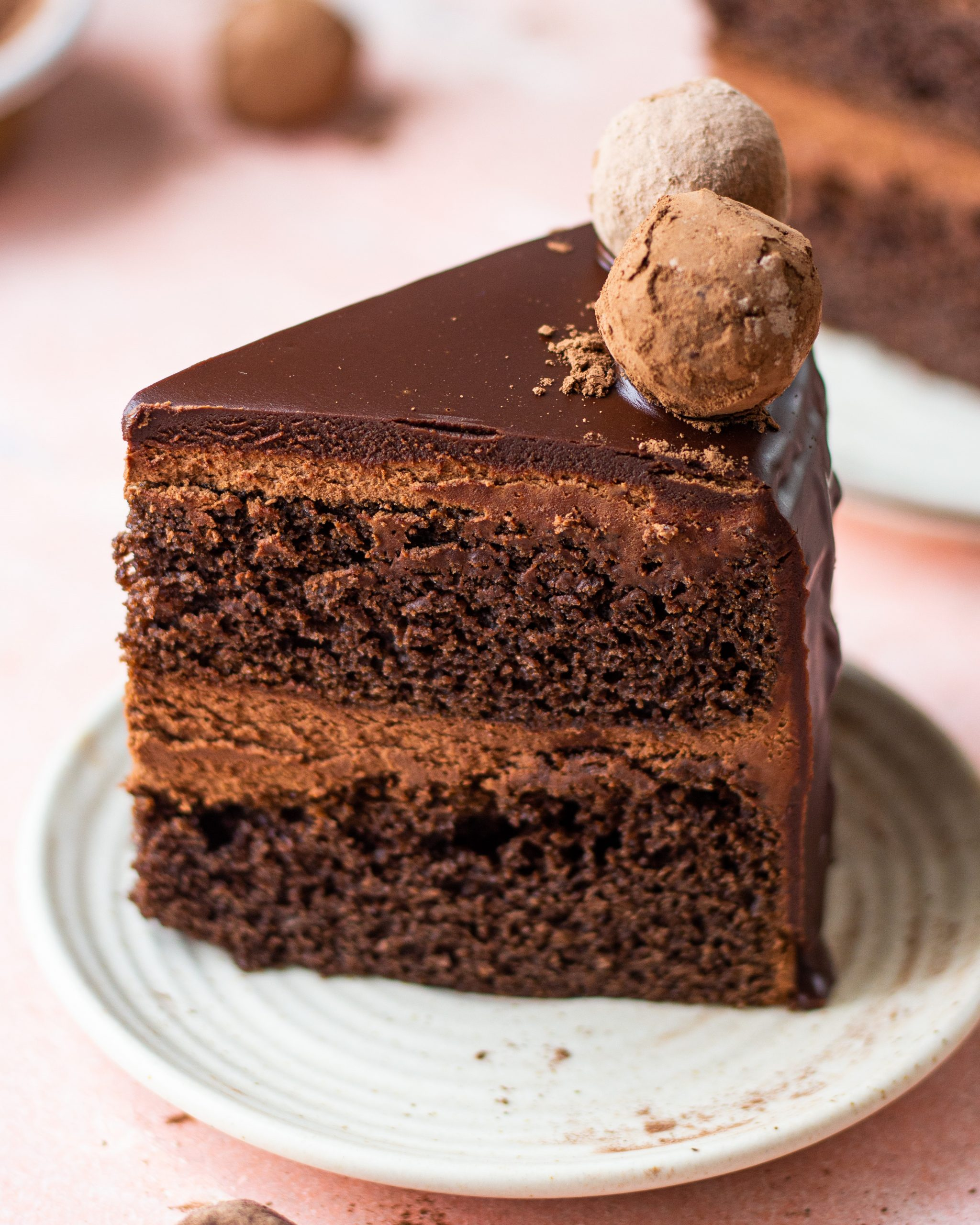 homemade chocolate truffle cake